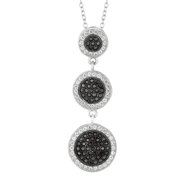 Sterling Silver Micro-set CZ 3-piece Graduated Drop Pendant with Chain