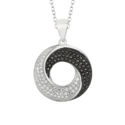 Sterling Silver Micro-set CZ Circle Pendant with Chain