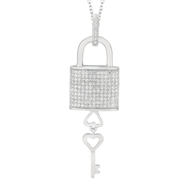 Sterling Silver Micro-set CZ Padlock with Dangle Key Pendant with Chain