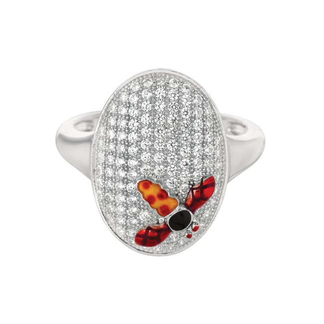 Sterling Silver Clear Cubic Zirconia Oval Dragonfly Size 7 Fashion Ring