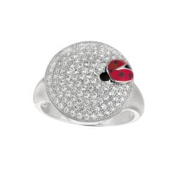 Sterling Silver Clear Cubic Zirconia Round Ladybug Fashion Ring
