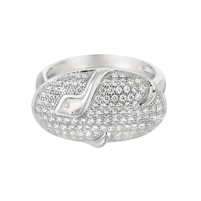 Sterling Silver Clear Cubic Zirconia Oval Snake Fashion Ring