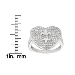 Sterling Silver Clear Cubic Zirconia Heart and Fleur de Lis Ring
