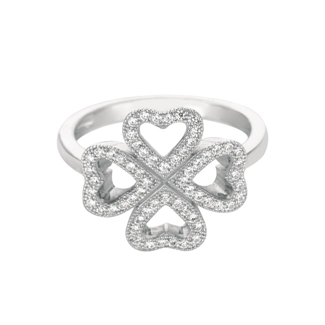 Sterling Silver Clear Cubic Zirconia Clover Hearts Ring