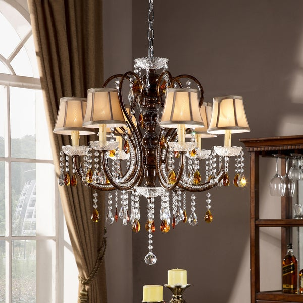 TRIBECCA HOME Clarissa Tea Crystal Ceiling Lamp