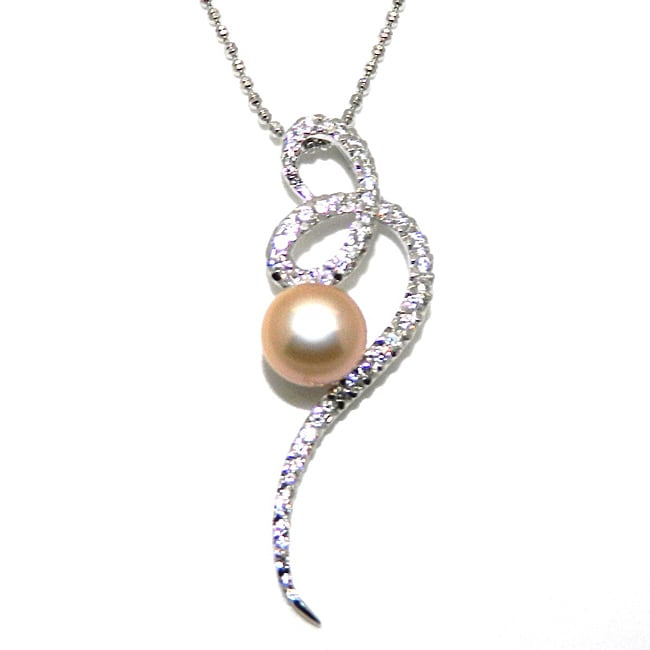 Pearlz Ocean Sterling Silver Freshwater Pearl and CZ Necklace (8-9 mm)