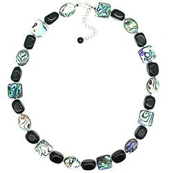 Pearlz Ocean Sterling Silver Abalone and Black Onyx Nugget Necklace