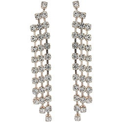Roman Rosetone Clear Crystal Waterfall Dangle Earrings