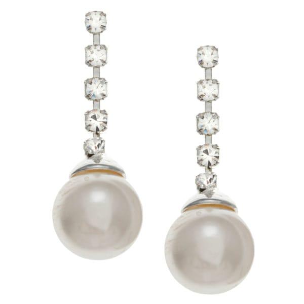 Roman Silvertone Faux Pearl and Crystal Dangle Earrings