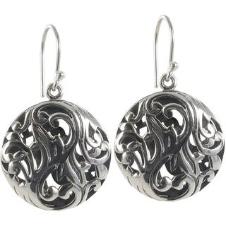 Sunstone Sterling Silver Filigree Round Bali Drop Earrings