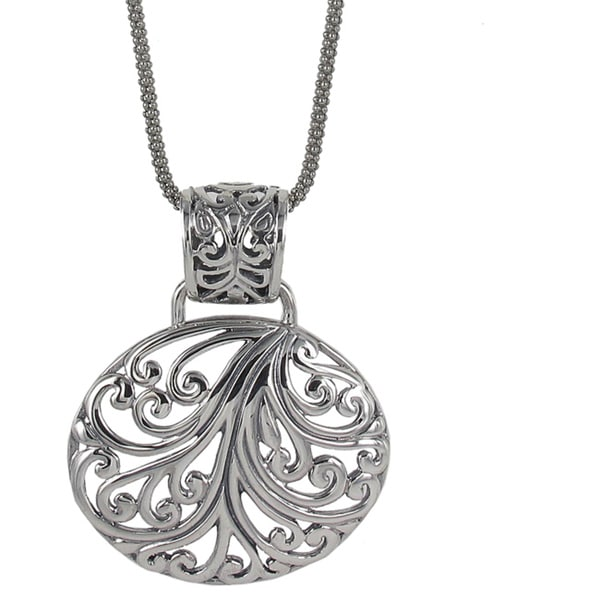 Sunstone Sterling Silver Filigree Oval Bali Necklace