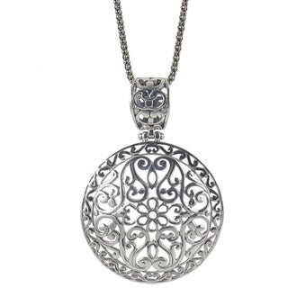 Sunstone Sterling Silver Filigree Round Bali Necklace