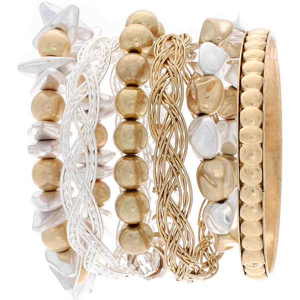 Nexte Jewelry Stackable Bead and Metal Combizon Bracelet Set