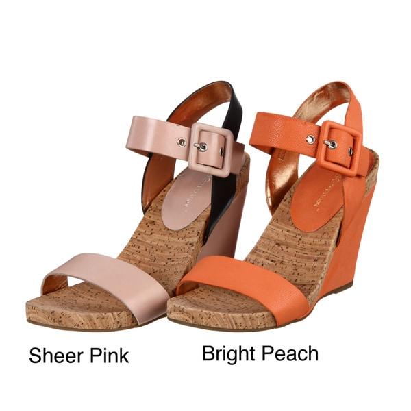 BCBG Women's Leather Wedge Sandals