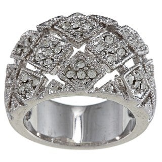 City by City High-polish Silvertone Brass Clear-crystal Woven-square Pave Ring