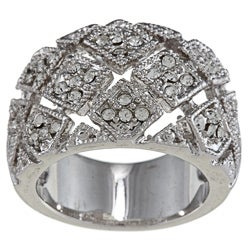 High-polish Silvertone Brass Clear-crystal Woven-square Pave Ring