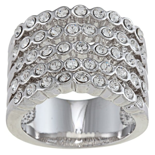 City by City Silvertone Clear Crystal 5-row Band