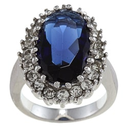 City Style Silvertone Blue and Clear Crystal Oval Diana Ring