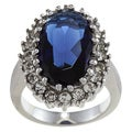 City by City City Style Silvertone Blue and Clear Crystal Oval Diana Ring