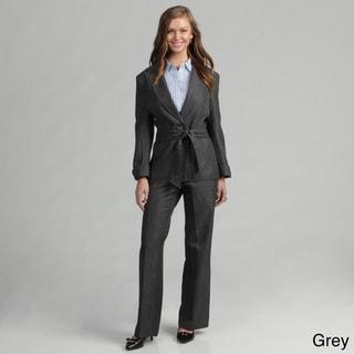 Danillo Women's Single Button Self Sash Jacket Pant Suit