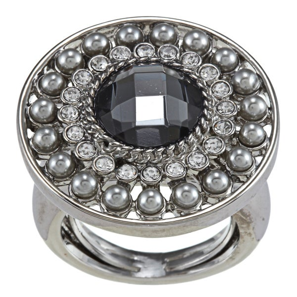 Carolee Silver Storm Round Orinate Adjustable Ring
