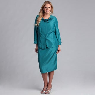 Danillo Women's Teal/ Champagne Rosette Skirt Suit