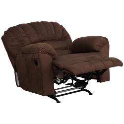 Contemporary Padded Walnut Microfiber Rocker Recliner