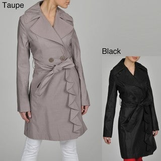 TAHARI Evelyn Ruffle Trench Coat