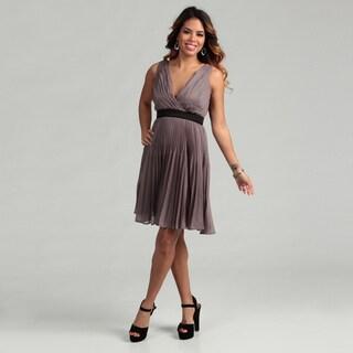 Max & Cleo Women's Sleeveless Crossover V-neckline Dress
