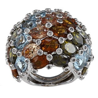Kenneth Jay Lane Silvertone Multi-color Cluster CZ Dome Ring