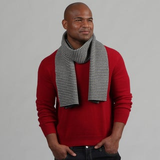 Portolano Men's Cashmere-Blend Patterned Scarf FINAL SALE