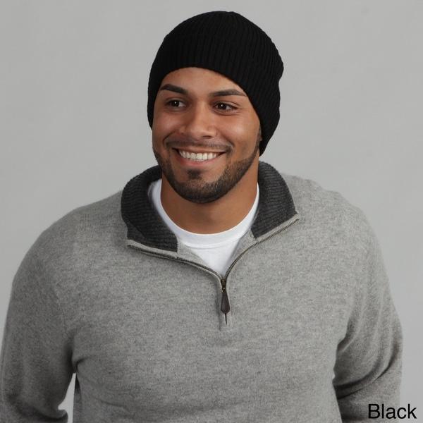 Portolano Men's Wool Ribbed Beanie Hat