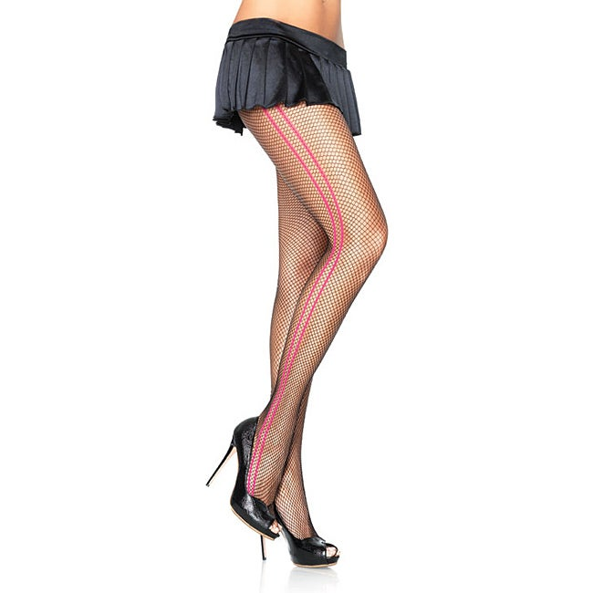 Fishnet Pantyhose with Woven Contrast