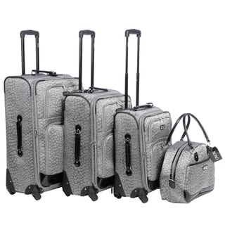 XOXO Silver Leopard 4-piece Fashion Expandable Spinner Luggage Set