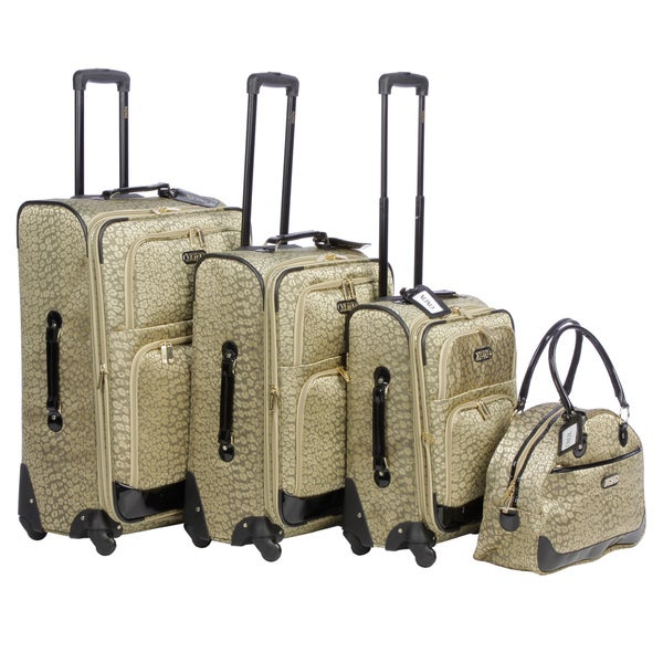 XOXO Golden Leopard 4-piece Fashion Expandable Spinner Luggage Set