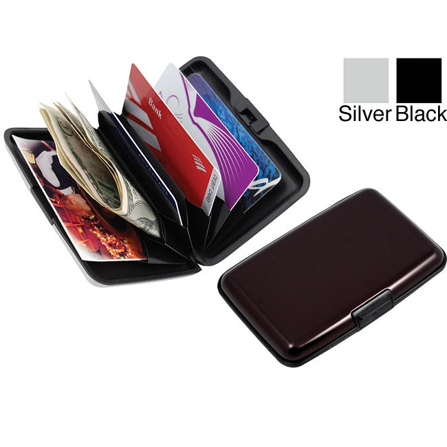 Black Six-slot Premium Aluminum Wallet with Push-lock Closure