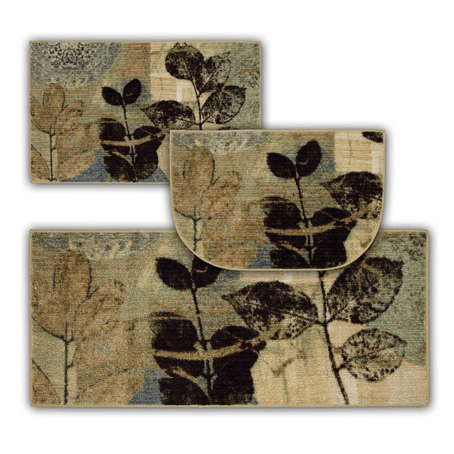 Gale Beige Three-piece Kitchen Rug Set - 14207122 ...