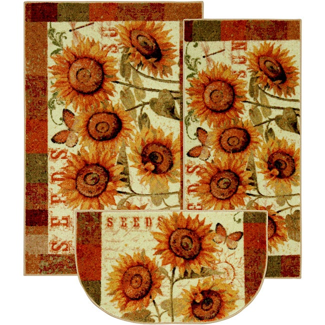 Sunshine Seeds Three-piece Kitchen Rug Set