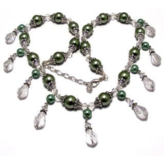 Evergreen Pearl and Crystal Wedding Jewelry Set