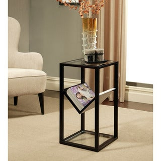 Abbyson Living Wilshire Glass End Table Bookshelf
