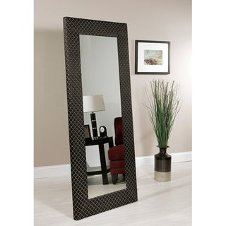 Abbyson Living Bassett Black Patteren Fabric Floor Mirror