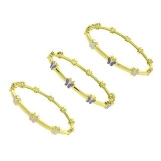 Molly and Emma 14k Gold Overlay Children's Enamel Butterfly Design Bangle Bracelet