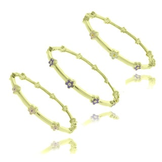 Molly and Emma 14k Gold Overlay Children's Enamel Flower Design Bangle Bracelet