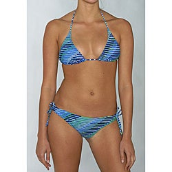 Island World Junior's Blue Geo Stripe Brazilian Cut 2-piece Bikini