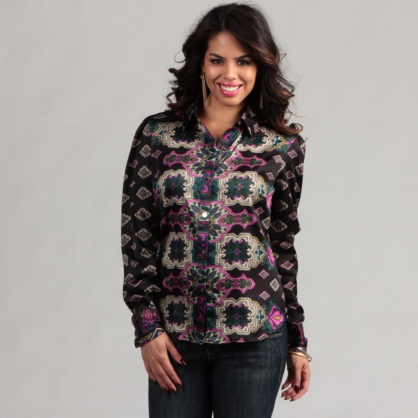 WDNY Women's Button Front Print Blouse