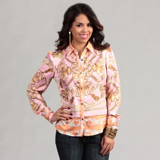 WDNY Women's Long Sleeve Button Front Pink Print Blouse