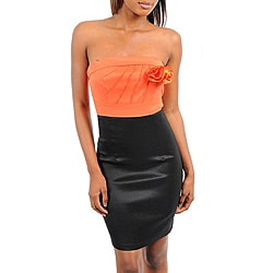 Stanzino Women's Orange Two-tone Strapless Dress
