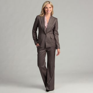 Anne Klein Women's Taupe Single-button Pant Suit