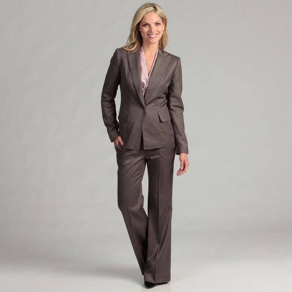 Anne Klein Women's Taupe Single-button Pant Suit
