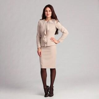 Anne Klein Women's Latte Ruffle Front Skirt Suit